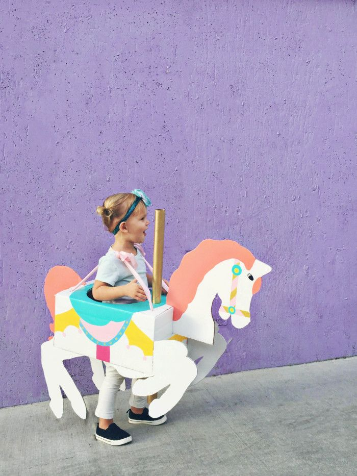 A cheap carousel horse costume DIY from cardboard that is CHEAP and adorable!