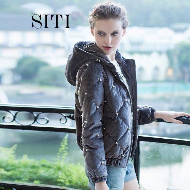 Женщины вниз теплый бархатный Pleuche жемчужина пальто парка элегантный мода новая зимняя верхняя одежда известная группа модель Большой размер