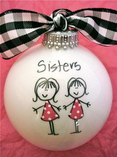 Sisters Ornament Hand Painted and Personalized by HappyYouHappyMe, $14.00