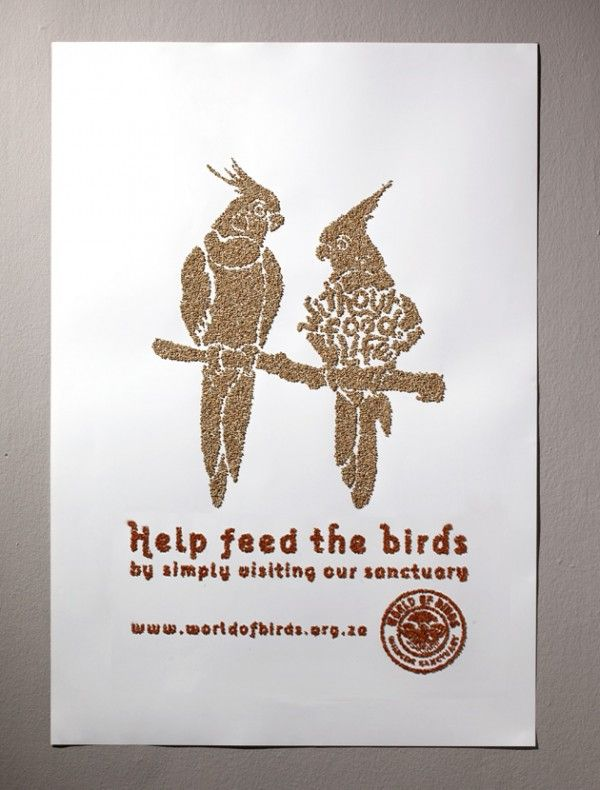 help feed the birds fish gate world of birds south africa affichage billboard ambient marketing outdoor 1