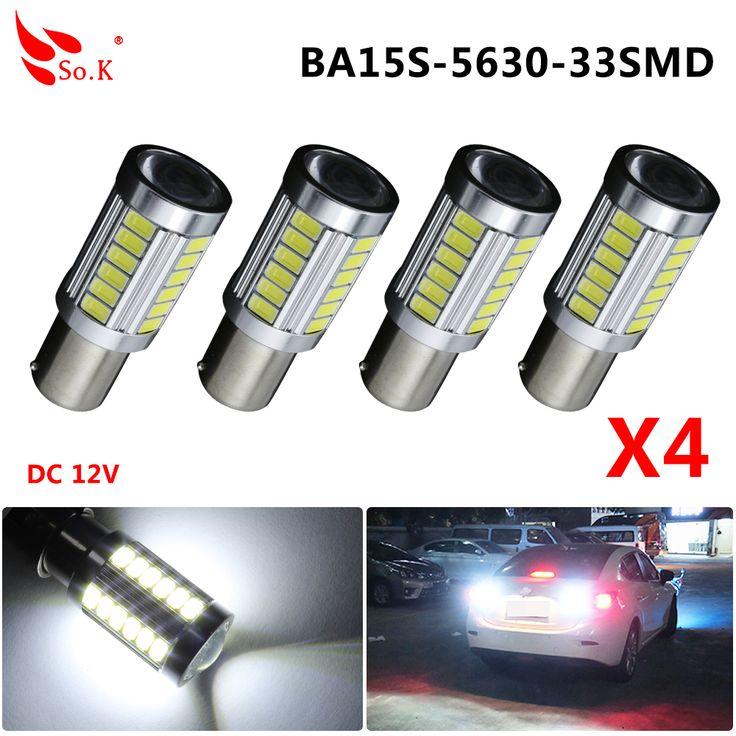 4pcs/lot S25 P21W 1156 BA15S 1157 5630 33SMD 5730 LED high power led Car Auto led bulb light 33led DC 12V