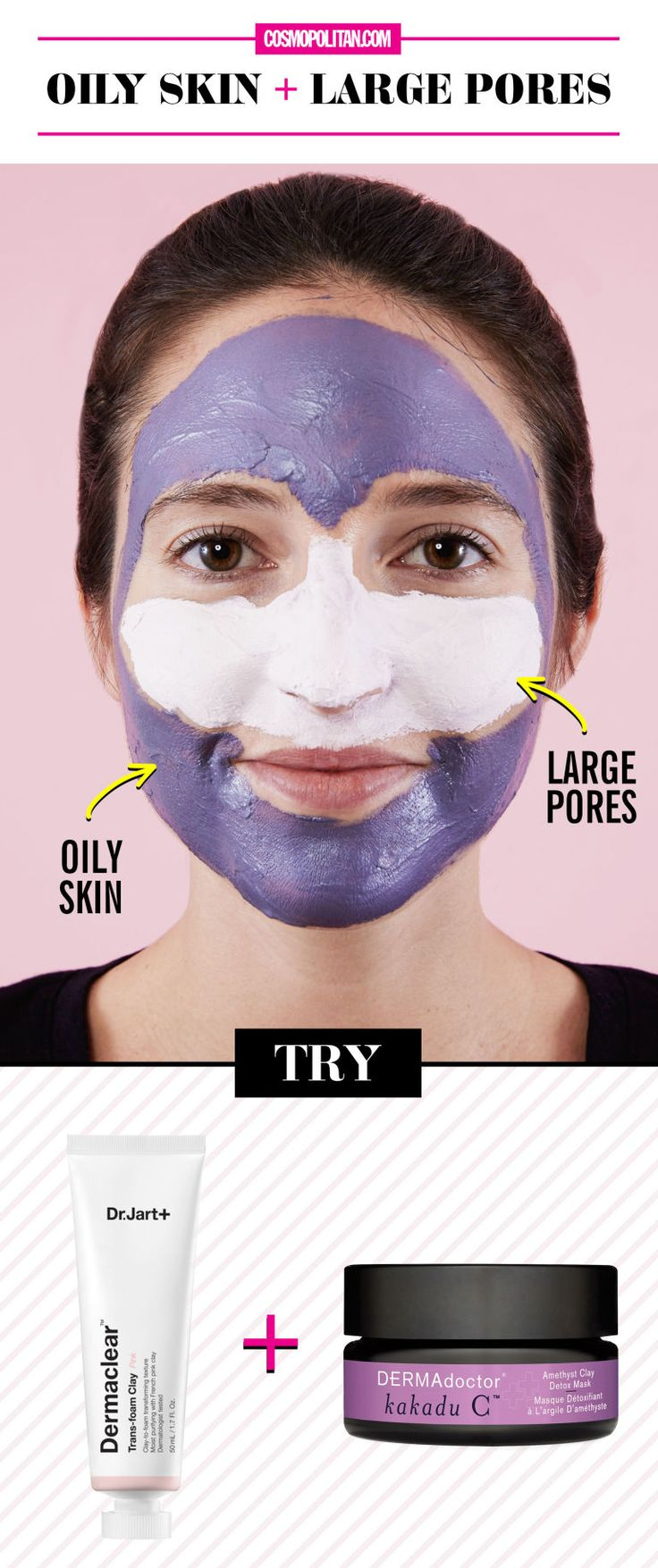 2. Oily Skin + Large Pores These issues are like Thing 1 and Thing 2 for your face: always together causing trouble. Start by targeting enlarged pores (typically the nose and cheek area) with a clay mask—like a magnet, clay sucks out dirt and oil, which stretch pores then oxidize, creating the dreaded black spot. Then slather oily areas with a gentle detox mask made to remove impurities without stripping the skin's moisture barrier (lose that, and your body will just make more oil to achieve…