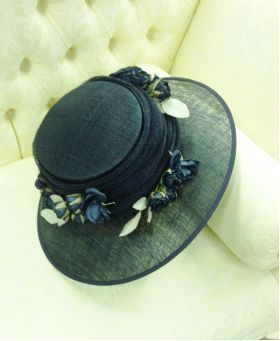Hats & Fascinators :: Navy hat with navy silk flowers. Genevieve by Nigel Rayment