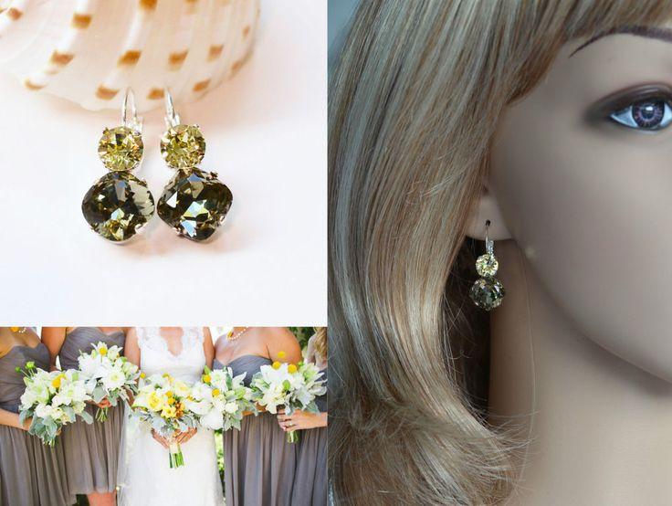 Grey & Yellow Swarovski Double Crystal Earrings (Sparkle-2632-BDJ) #Handmade…