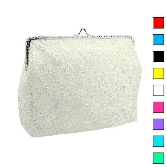 Bride ivory lace handbag bridal ivory clutch bag womens lace