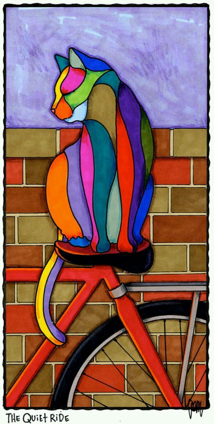 ♥ Cat On A Bike ~ Ilustração * #Felino * Gato & #Bike *