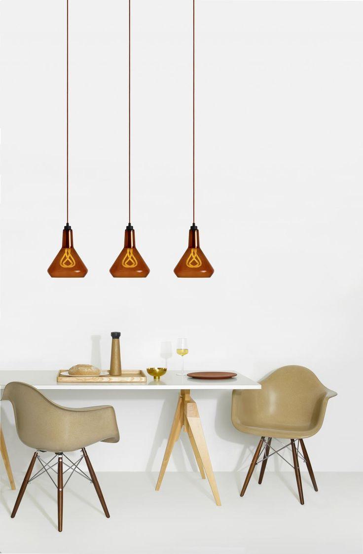 Hanglamp set Drop Top Amber - Drop cap Koper -  001 E27 - Plumen