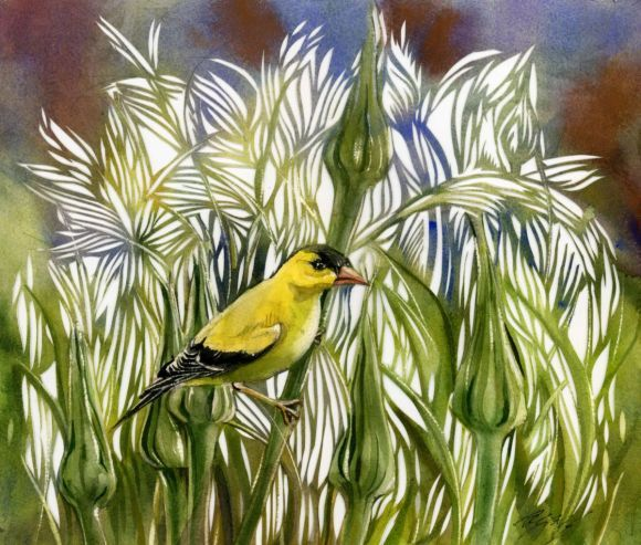 Golden finch watercolor with paper cut
