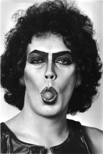TIM CURRY as the immortal Frank'n'Furter from The Rocky Horror Picture Show…. shows planty of tongue (minkshmink) #tongue #rockhorror #timcurry