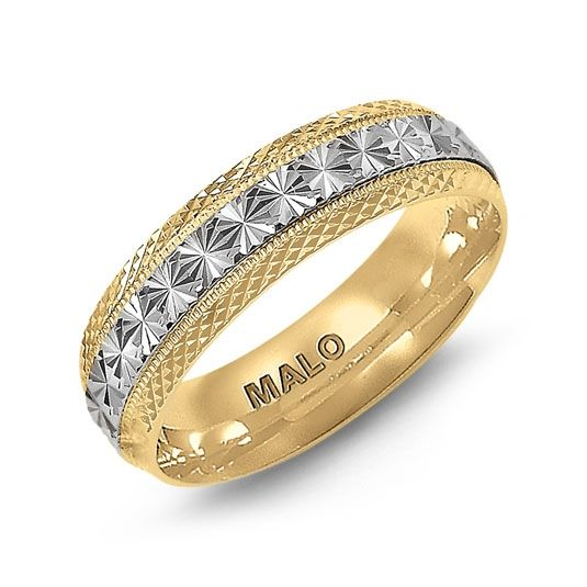 Mens Wedding Band This yellow  white gold high polished Malo wedding band. Available in 10 Karat, 14 Karat, 18 Karat  Platinum.