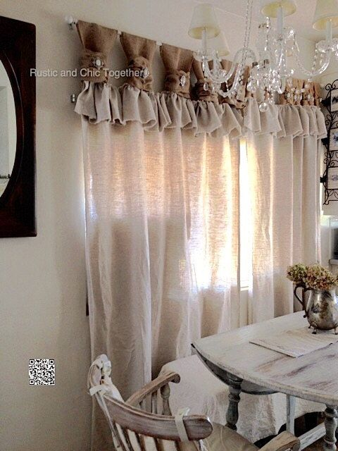 Burlap Linen Curtains with Jewelry Accent by RusticChicTogether