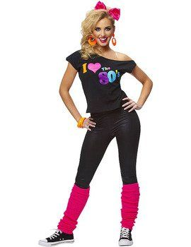 Ladies Womens I Love the 80's T-shirt 1980's 80s Fancy Dress Costume Outfit - S/M - 90428