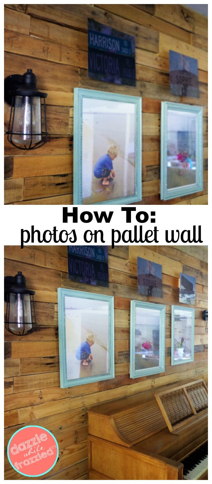 Learn how to decorate a wood pallet wall with simple photo frames and metal sign artwork so you can fully show off the beauty of a pallet wall. via @https://www.pinterest.com/dazzlefrazzled/ #palletwall #gallerywall#homedecorideas