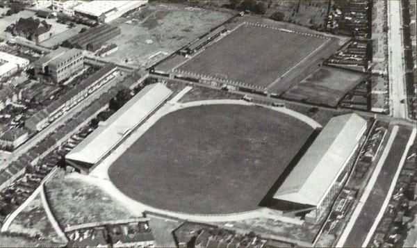 Leyton Orient East Stand bought 2nd hand from Mitcham in1956. This is a photo of the stand at Mitcham 1938 with gable. The other stand went to Bedford Town.
