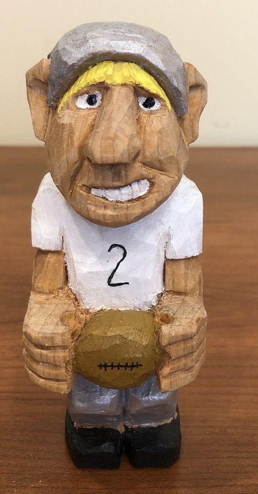 WHIMSICAL VINTAGE FOOTBALL PLAYER HANDCARVED  FIGURINE  BY NC ARTIST J.D. PRICE #FolkArt