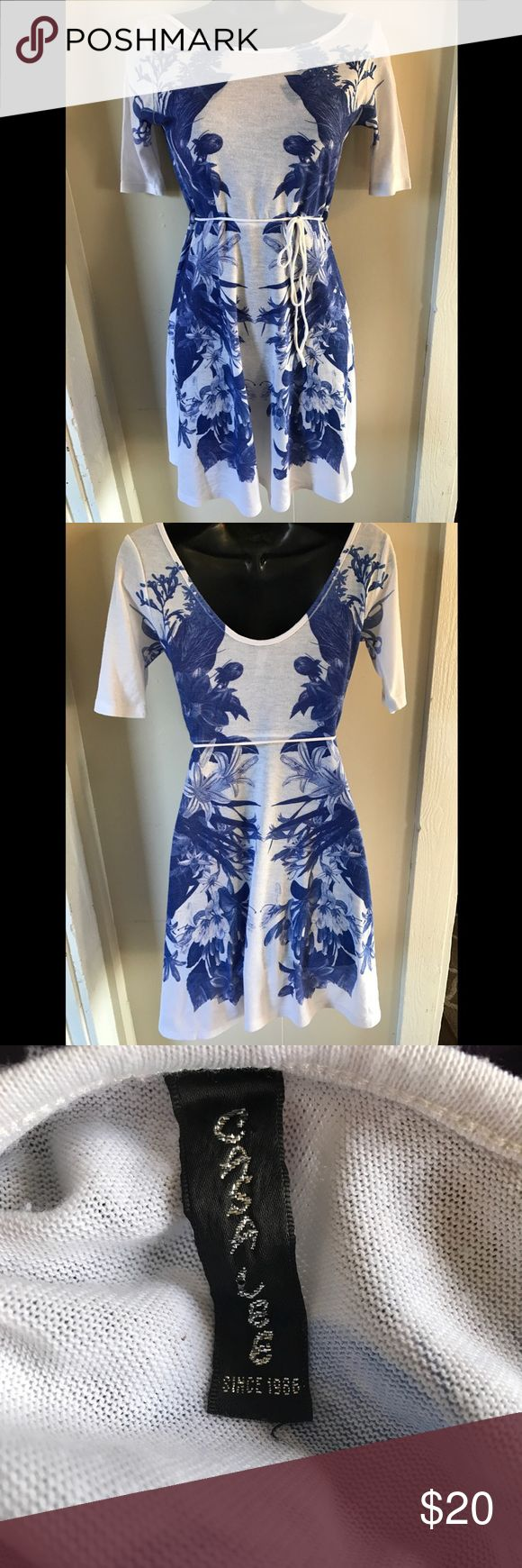 Printed Knit Dress Printed blue and white knit dress. Worn once in great condition. Gasa Lee Dresses Mini
