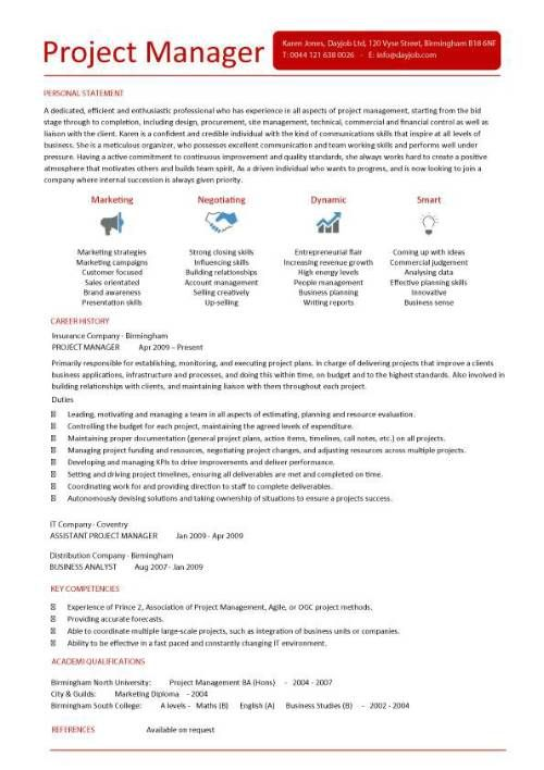 Project manager CV template, construction project management, jobs, CV, team leader