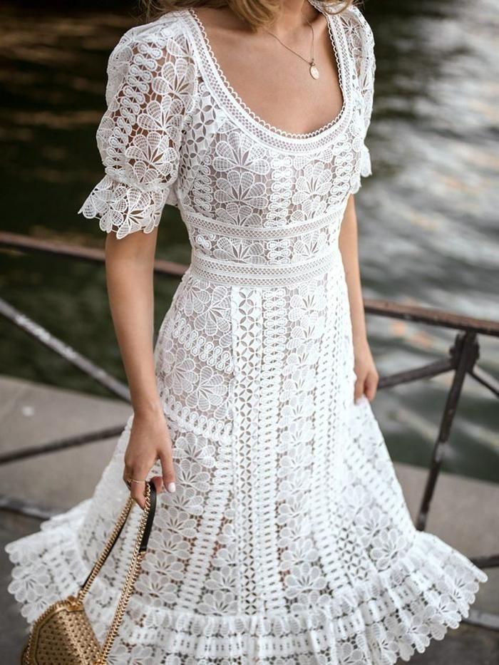 Short Sleeve Hollow Mid-Calf Pullover Plain Dress