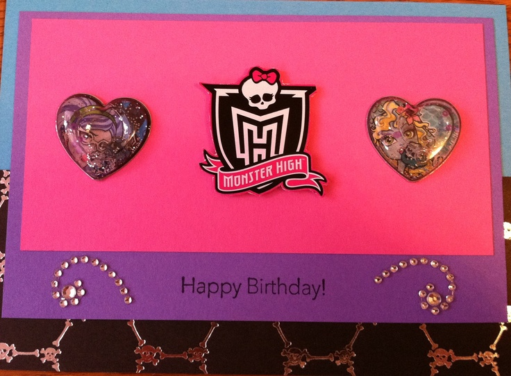 Had to make up a Monster High birthday card for my daughter's birthday since I've yet to find one in stores. Used MH stickers sold in stores and Stampin' Up cardstock to make.Monsters High Birthday, Monster High Birthday, Birthday Cards, Daughters Birthday