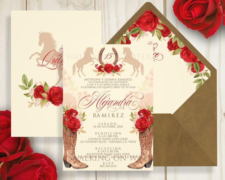 Red Charro Invitation Mexican Western Invitation Red Roses Quince Invite Quinceanera