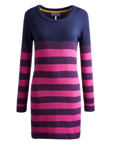 There's a (colour) block party happening and you're invited! A striking set of stripes have been generously splashed across this knitted dress that will add a little warmth and a lot of style to any occasion