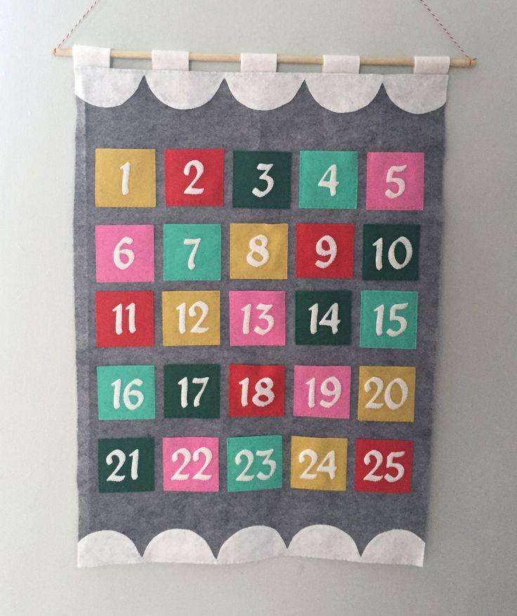 Modern Felt Advent Calendar Tutorial from Hugs are Fun - This is very cute!
