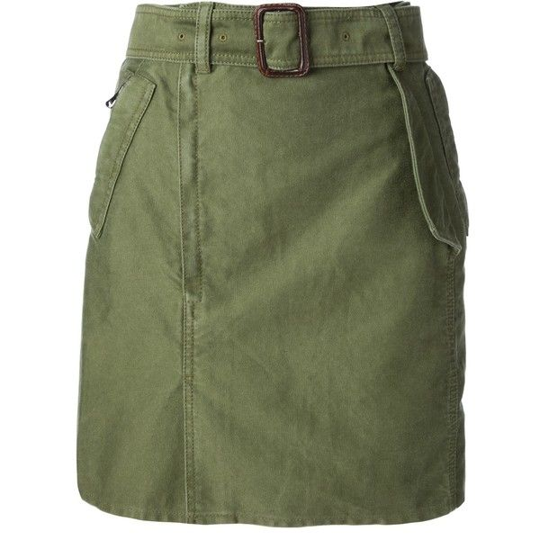 3.1 PHILLIP LIM military style skirt (8.875 RUB) ❤ liked on Polyvore featuring skirts, knee high skirts, green skirt, 3.1 phillip lim skirt, military skirts and green cotton skirt