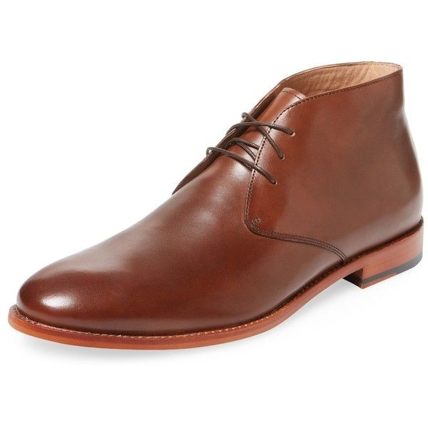 Warfield & Grand Men's Roper-Toe Leather Chukka Boot - Cognac, Size 10 (6.385 RUB) ❤ liked on Polyvore featuring men's fashion, men's shoes, men's boots, cognac, mens chukka shoes, mens rubber sole shoes, cognac men's shoes, mens shoes and mens shoes chukka boots