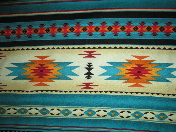 Navajo Nativo Americano Verde Azulado Impresión De Bordes Dorados bthy Tela De Algodón | Artesanías, Tela | eBay!