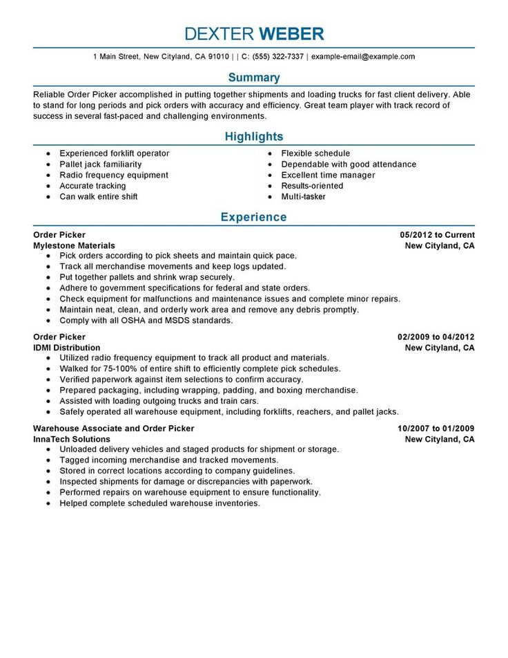 amazing government military resume examples livecareer order picker example