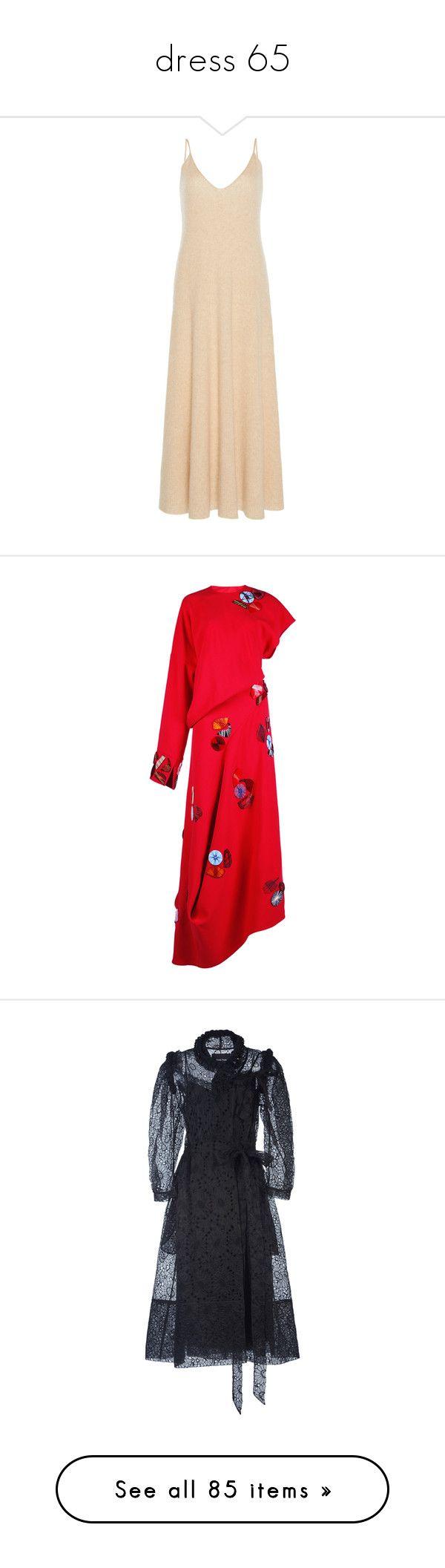 """dress 65"" by missmimimj ❤ liked on Polyvore featuring dresses, neutral, v neck dress, cashmere dress, tanktop dress, v neck tank dress, tank top dress, red asymmetrical dress, roksanda dress and embroidered dress"