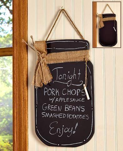 Mason Jar Country Kitchen Ceramic Spoon Rest Soap Dispenser Pump Chalkboard