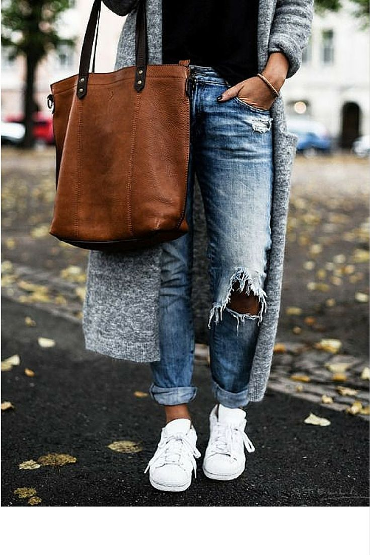 sneakers and pearls, street style, ripped denim, long cardigan worn with  sneakers,