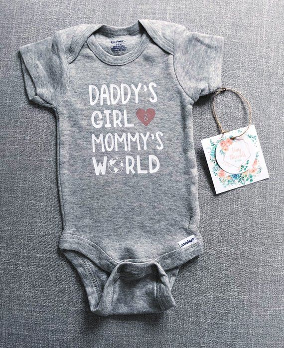 Daddys Girl Mommys World Funny Shower Gift Babies Girls Gerber Infant Onesies
