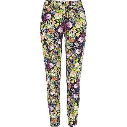 Multicoloured floral print skinny trousers - skinny / super skinny pants - pants - women