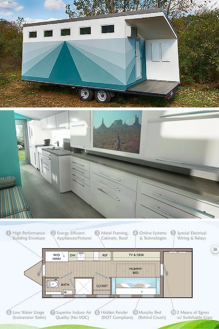 The Lil' Lodge tiny house, designed by architect, Tracey Powell. A high tech house with an eco-friendly design and off-grid capabilities.