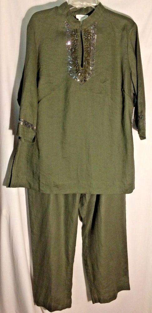 New KATE HILL WOMAN Olive Drab Linen Embellished Pant Set - 1X - Orig Ret $168 #KateHill #PantSuit #kate #hill #safari# #olivedrab #olive #drab #linen #plus #pantset #top #tunic #pants #cropped #capri #capris #X #new #tags