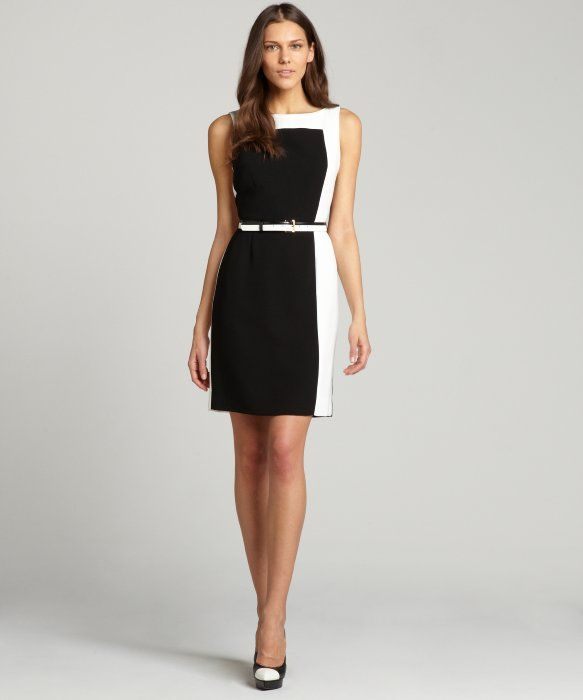 Tahari ASL : black and ivory belted stretch sleeveless dress : style # 326560801