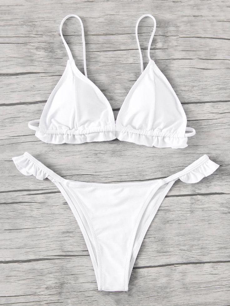 Shop Frill Trim Triangle Bikini Set online. SheIn offers Frill Trim Triangle Bikini Set & more to fit your fashionable needs.