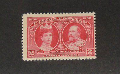 Stamp Pickers Canada 1908 Quebec KEVII & Queen 2c Scott #98 MNH $130+