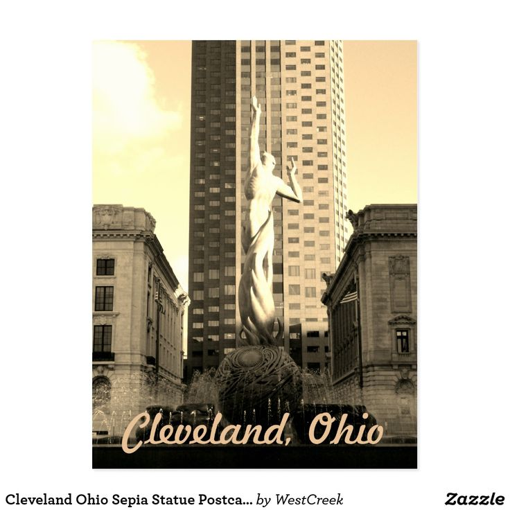 zazzle wedding invitations promo code%0A Cleveland Ohio Sepia Statue Postcard