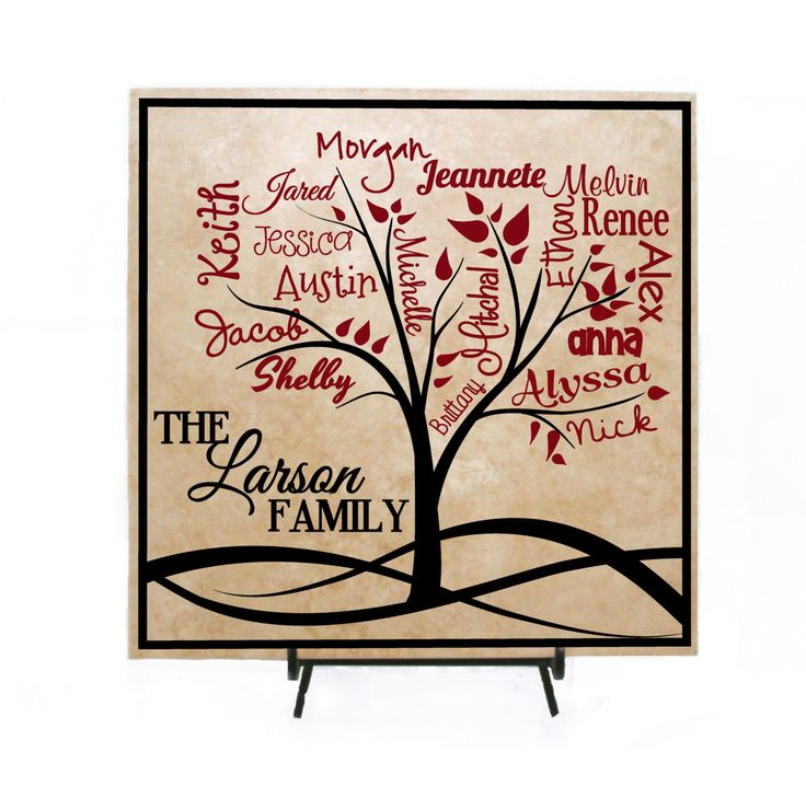 Custom Family Tree Sign Personalized with Names - Family Names, Grandkids Sign, Mother's Day Gift, Personalized Family Sign, Tile Sign by LEVinyl on Etsy