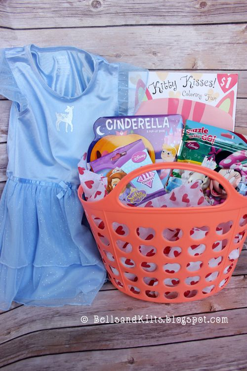 Valentine Gift Ideas for Toddler Girls - princess night gown from Carter's, basket from Hobby Lobby, puzzles, stickers, books and coloring book from Target, etc.