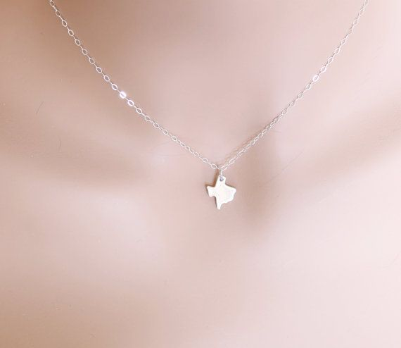 Texas Necklace Sterling Silver State of Texas by beadxs on Etsy, $27.00