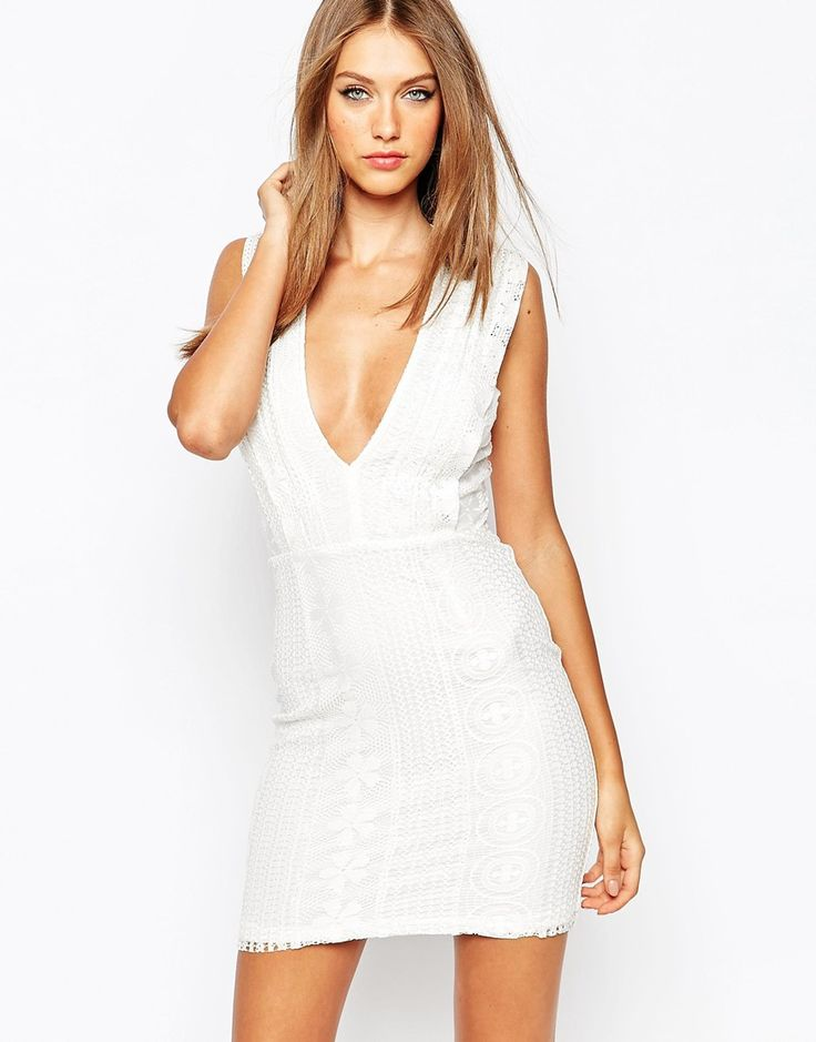 Missguided White Plunge Neck Lace Dress Dresses Lace