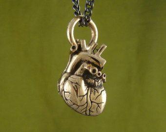 """Collana bronzo cuore umano anatomico cuore umano anatomico - piccole dimensioni - su 24"""" canna di fucile catena - piccolo cuore anatomico"""