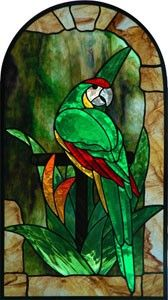 Stained Glass Parrot Panel - Green Macaw - Tropical Panel