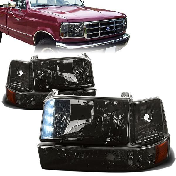 92 96 Ford F150 F250 F350 Bronco Led Drl Headlights Bumper Lamp Smoked Housing Amber Corner Ford F150 Headlights F350