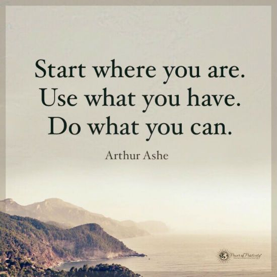 Start where you are use what you have do what you can - Arthur Ashe Quote.