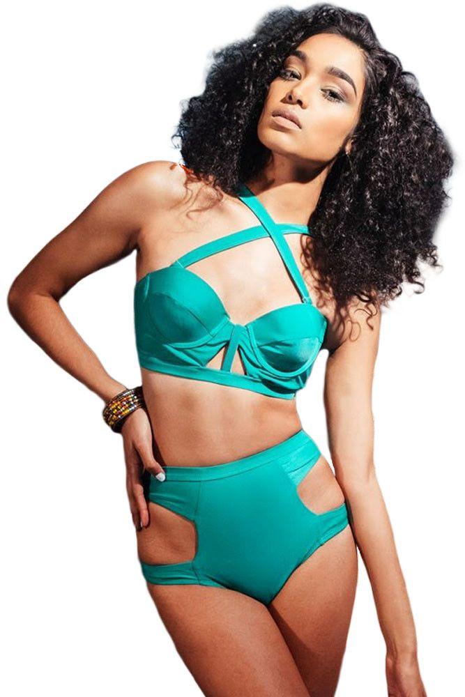Prix: €12.66 Taille Haute Maillots De Bain Sexy Cool Vert Bustier Bikini Pas Cher www.modebuy.com @Modebuy #Modebuy #Vert #me #sexy #Noir